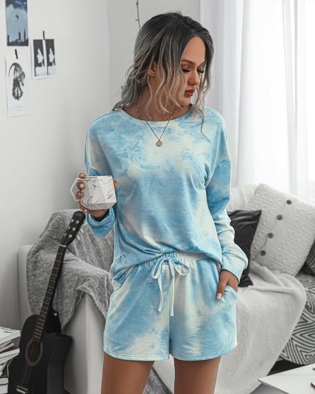 2020 İki Adet Set Kadınlar Giyim Batik Karikatür T- Shirt Biker Şort Takımı Ter Suits Lounge Giyim Kıyafetler Ensemble Femme