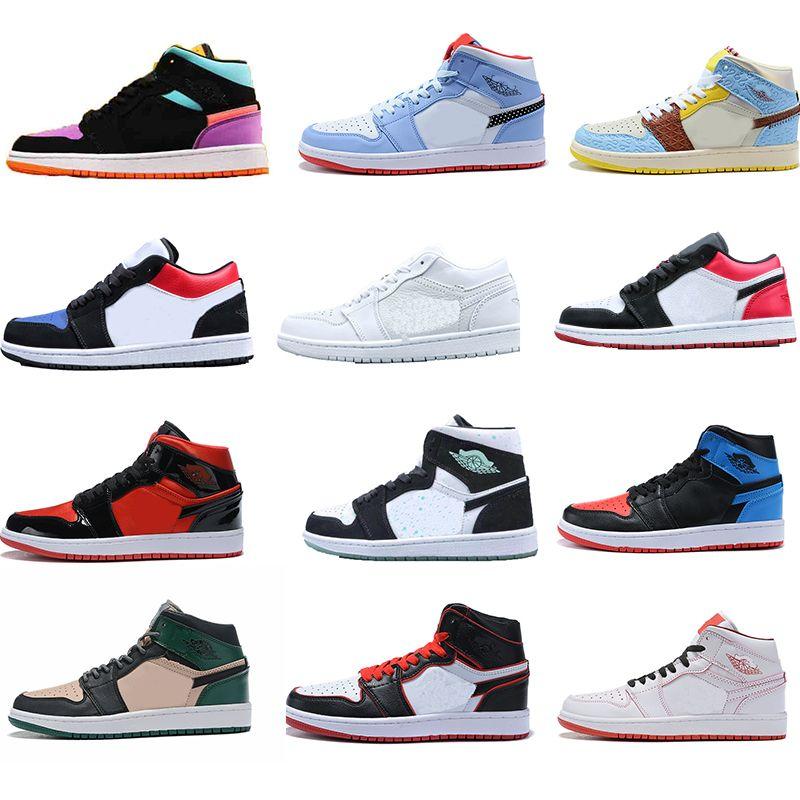 2020 hommes rétro luxe blanc chicago 1 Jumpman 1 peur sans peur Light Fumée Smoke Grey Teams Chaussures de basketball 1S Travis Scotts Baskers Sneakers