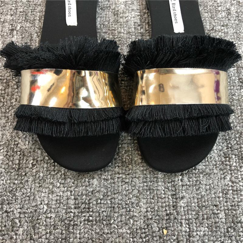 Dames coloré fourrure duveteuse pantoufles femmes Diapositives BLING extérieur Lady Furry Tongs Femme d'été Flats Sandales Black Gold