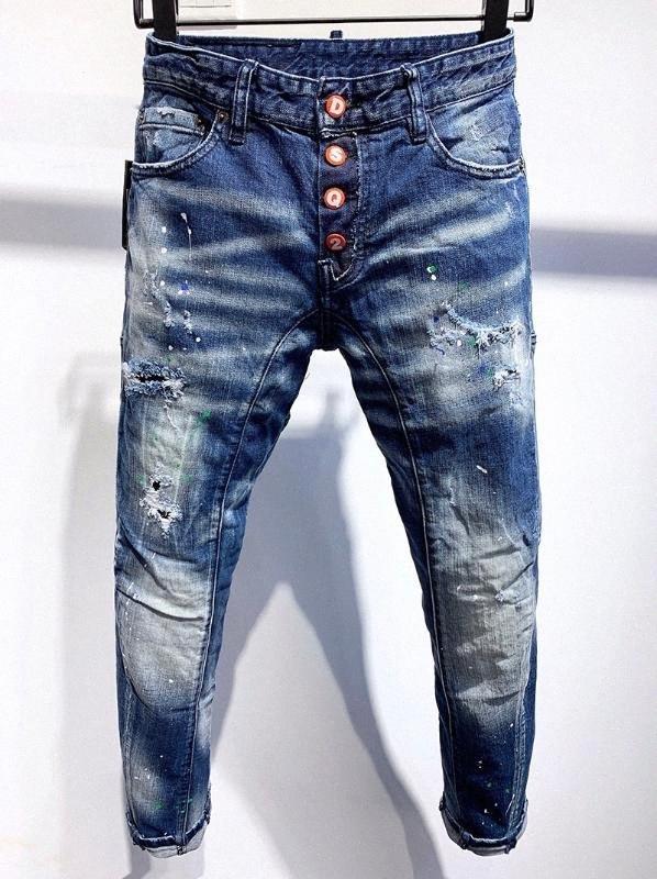 Europeus homens marca de estilo Itália calças jeans masculinas motociclista jeans calças retas buraco Calças faixa azul para 337 rfkA #