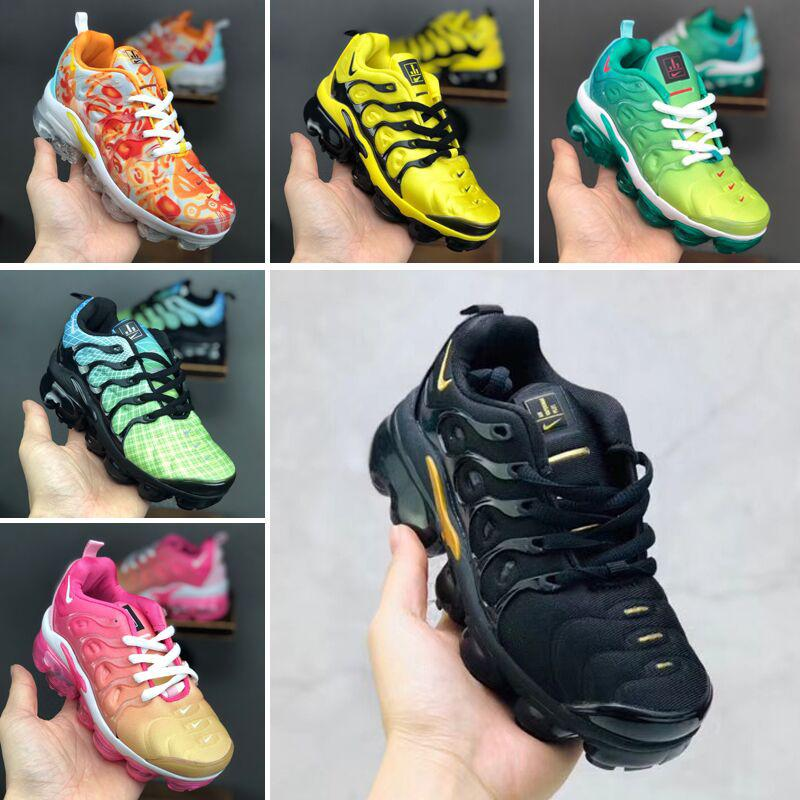 hot Infant Kids Tn Running Shoes Air Cusion Grey White Children Sport Shoes Toddler Trainer Rainbow Boy and Girl Tns Sneaker 24-35