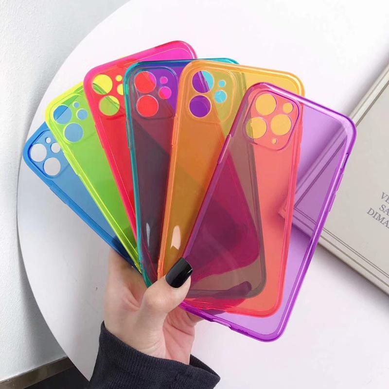 Caja protectora transparente del color del caramelo para el iPhone 11 Pro XS Max XR 8 7 6 lujo del diseño TPU de teléfono móvil de la cubierta superior del caso de DHL