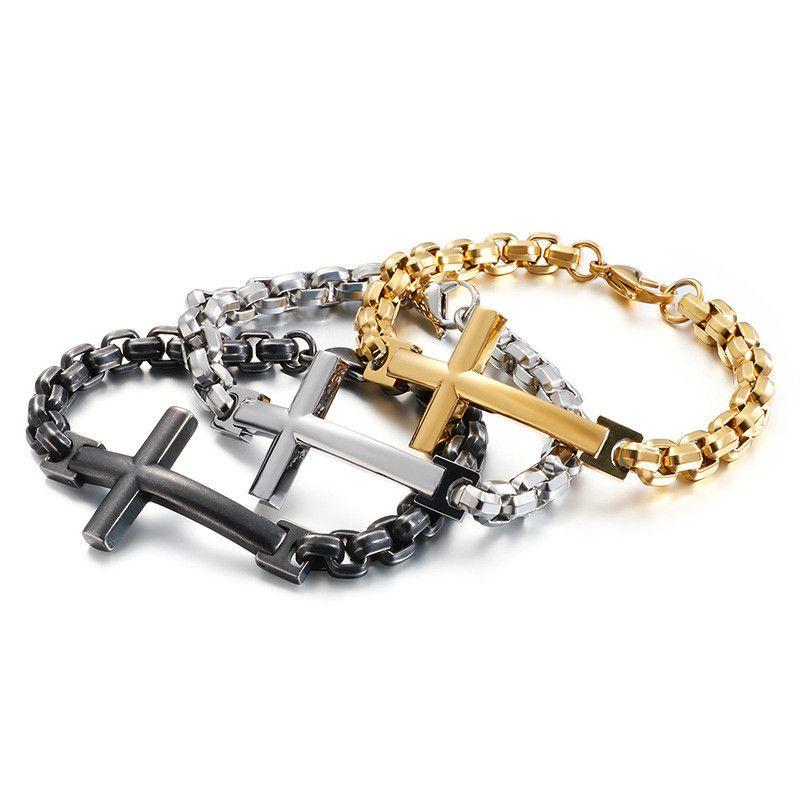 Titanio hombres de acero de la cruz del acero inoxidable de la pulsera brazalete de perlas pulsera accesorios del inconformista