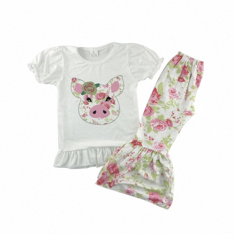 chaud vente motif de porc enfants printemps chemise blanche avec des vêtements pantalons volants enfants boutique SMw7 #