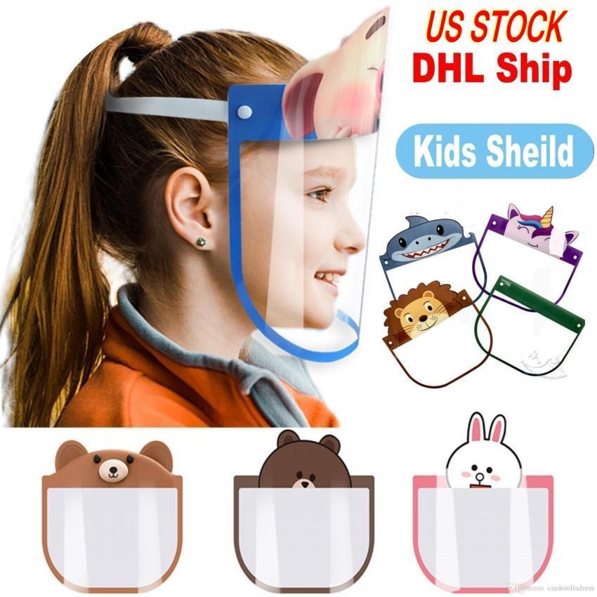 Свободный DHL Kid Мультфильм Face Shield Прозрачные защитные маски пылезащитные Anti-Fog Полный Защитная маска против пыли ветрозащитный ПЭТ Маска