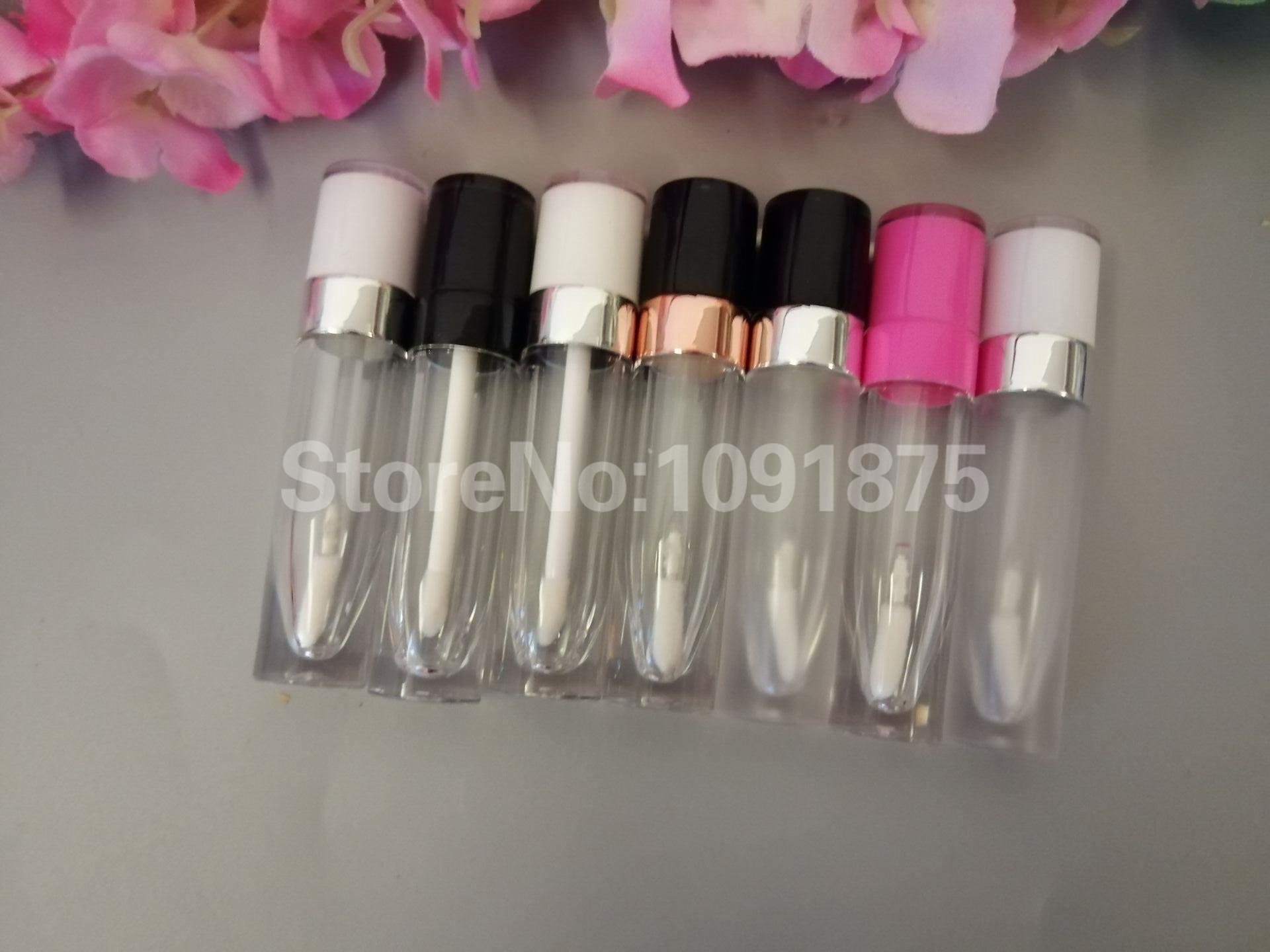 50pcs / lot 5ml Esvaziar Lip Gloss tubos redondos Limpar Lipgloss Tubo Lid Lip Gloss recipientes cosméticos Lipgloss Bottle