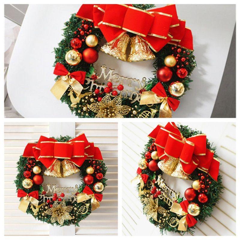 Coroa de Natal artificial com grande curva, Ouro Bells, bolas enfeites para férias Front Door decorações de suspensão do