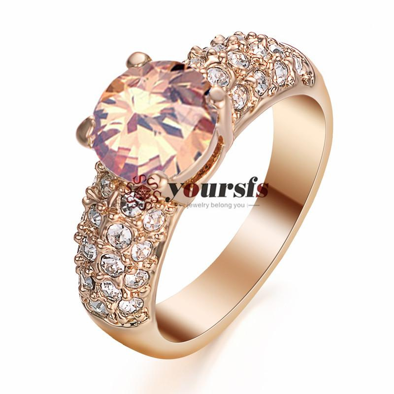 Yorsfs 2017 stile moda argento colore bianco placcato oro gioielli con strass 2CT simulato diamante splendido anelli di fidanzamento gioielli