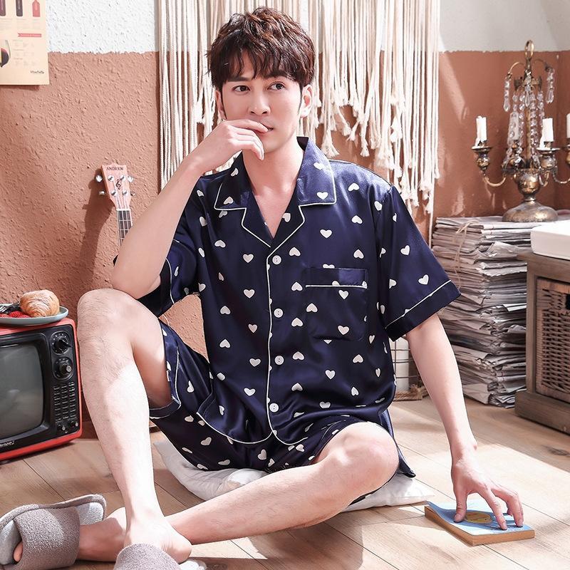 İpek ev giysileri, kadın yaz pijama AuoLZ çift çift kısa ince erkek ev giyim ilkbahar ve yaz karikatür ipek mrC8r ipek benzeri manşonlu