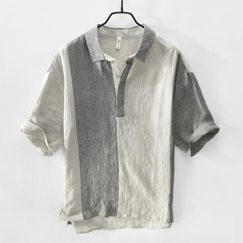 Sıcak Satış 2020 Yeni Yaz Keten Gömlek Casual Moda Yaka Yaka Erkek Kısa Gömlek Gevşek İnce Erkek Giyim
