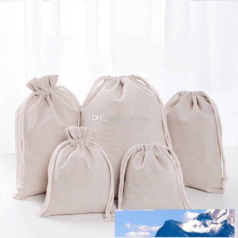 Ropa de la bolsa con cordón bolsas de compras reutilizable partido del caramelo del favor del regalo del algodón saco de embalaje bolsas de almacenamiento de DHL WX9-1488