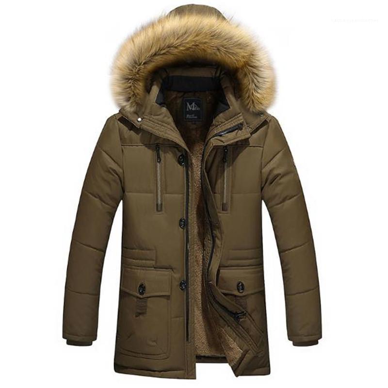 Coats Kapşonlu Polar Kış Erkek Aşağı Sıcaklık Koyu Renk Uzun Kollu Kalın Erkek Tasarımcı Parkas ile Fermuar Winter Cepler