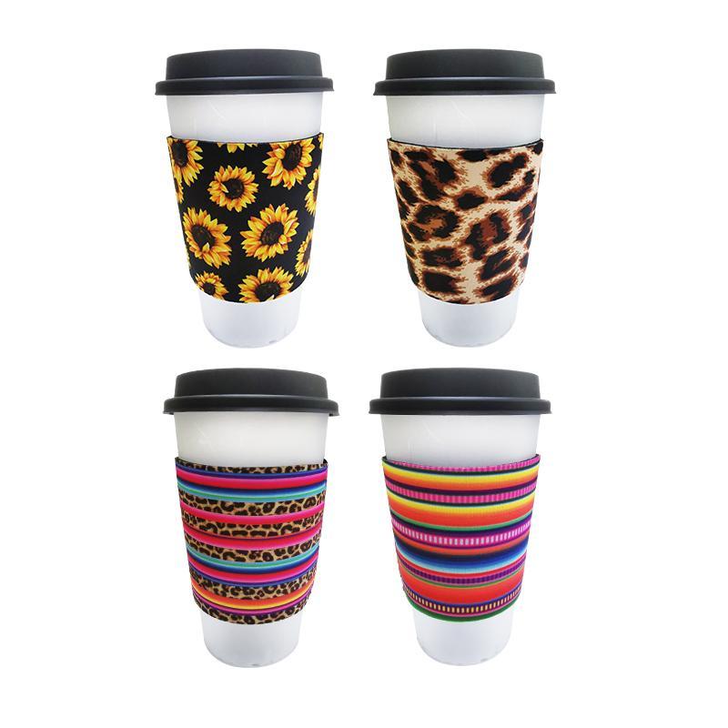 12OZ-24oz فنجان القهوة النيوبرين كم معزول قابلة لإعادة الاستخدام القهوة والشاي كأس قبضة صلاة عازل ليوبارد عباد الشمس البيسبول طباعة