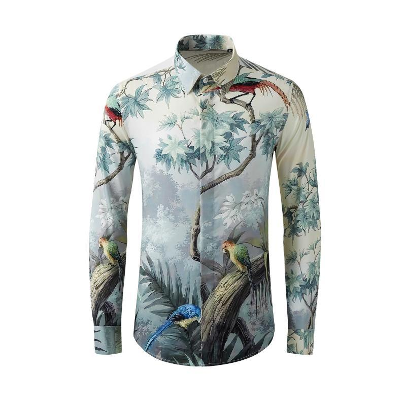 camisas de los hombres de algodón de manga larga 2020 del árbol del pájaro de impresión famosas flores de personalidad camisa coreano tamaño de alta calidad M-XXL XXXL 4XL