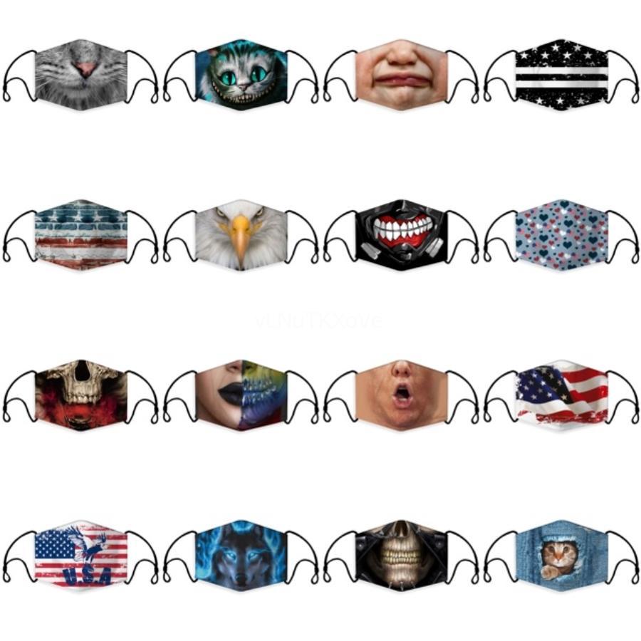 Respirant adulte éponge Masque réutilisable Anti-Pollution Visage Bouclier épreuve du vent Bouche Er Masque Noir Kpop bouche # 350