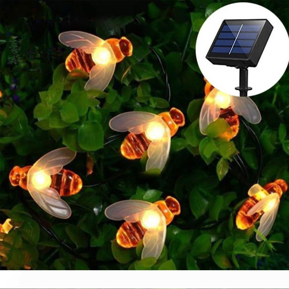 Solar string lights 30 LED solar bee fairy lights 8 patterns copper wire lights waterproof outdoor string lamp suitable for garden patio
