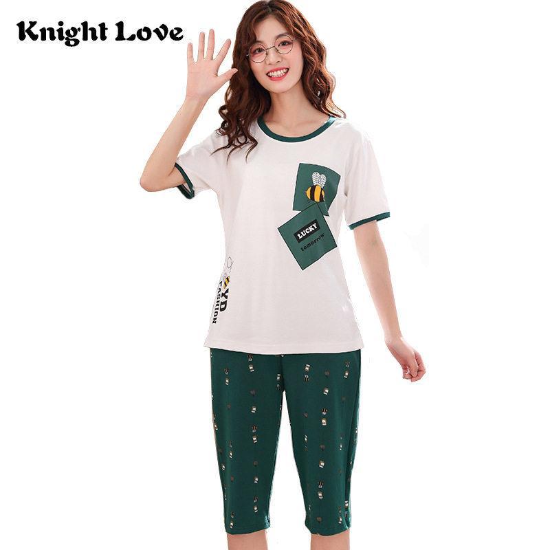 Hohe Qualität 100% Baumwolle Damen Pyjama-Sets Sommer Nachtwäsche Short Sleeve Pyjamas Rundhalsausschnitt-Damen-nette Karikatur Nightgown Y200708 Drucken