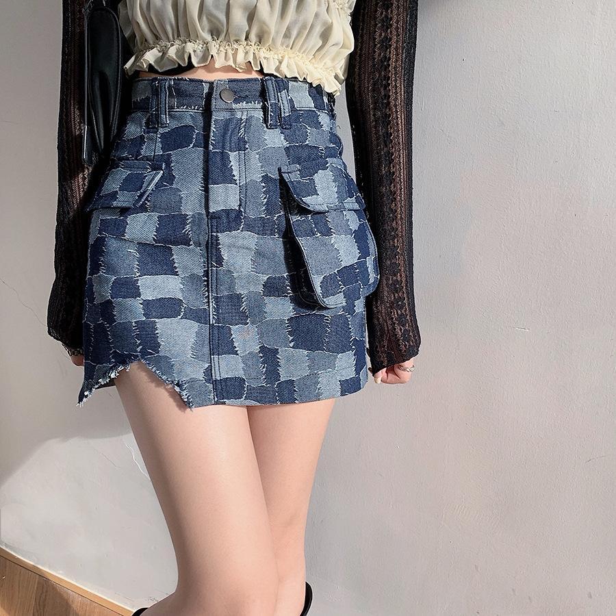 2020 тяжелая промышленность красивая площадь шить патч против воздействия skirtPatch джинсовые юбки высокой талией джинсовые юбки