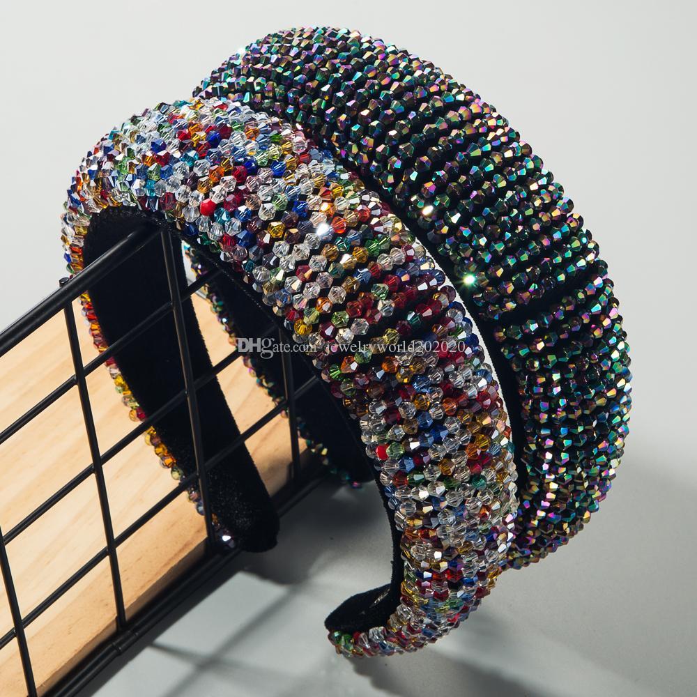 éponge perlée épais bandeau pour femme fait main luxe pleine cristal coloré large Hoop cheveux Brida mariage Diadèmes Couronnes