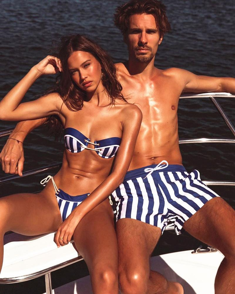 2020 Couples Maillots Hommes Femmes Maillot String Tong Bikini taille basse rayé Beachwear en cours Plage Pantalons Swim Couple Amoureux