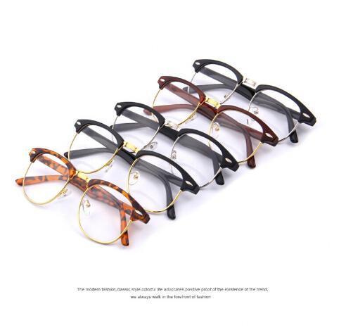 Uomo Donna Classic Retro obiettivo chiaro Nerd Frame Occhiali Moda Occhiali half metallo Eyewear degli occhiali di riparazione Fas YGNL #