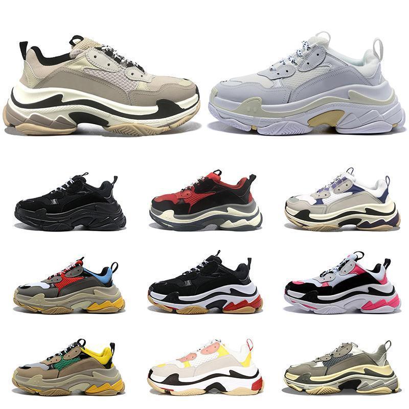 2020 üçlü s erkekler kadınlar platform ayakkabılar moda ayakkabılar siyah beyaz gri mor vintage rahat eğitmenler açık hava koşu yürüyüş boyutu 36-45