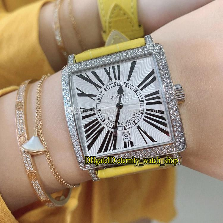 Лучшая версия New Master Square 6000 H SC DT COL DRM R белый циферблат ETA A2824 Автоматическая Женщина Часы Iced Out алмазным декор Безель Lady-часы