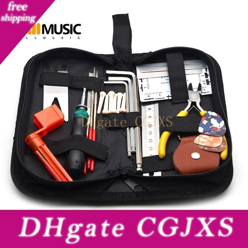 블랙 접이식 기타베이스 도구 키트 가방 20 * 10 * 5CM와 문자열 와인 스크류 드라이버 Pickholder 기타 눈금자 기타 액세서리