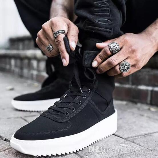 Temor de Dios Kanye militar de alta Top zapatillas de deporte al aire libre botas de ante rojo negro a juego en color de arranque Niebla Jerry Lorenzo de nylon zapatos para correr W4