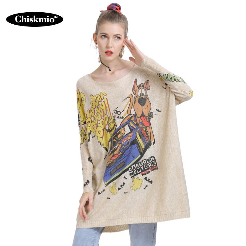 Suéteres de mujer Chiskmio vestido de punto Suéter largo Mujeres de gran tamaño Streetwear Dibujos animados Jersey de otoño para ropa Harajuku