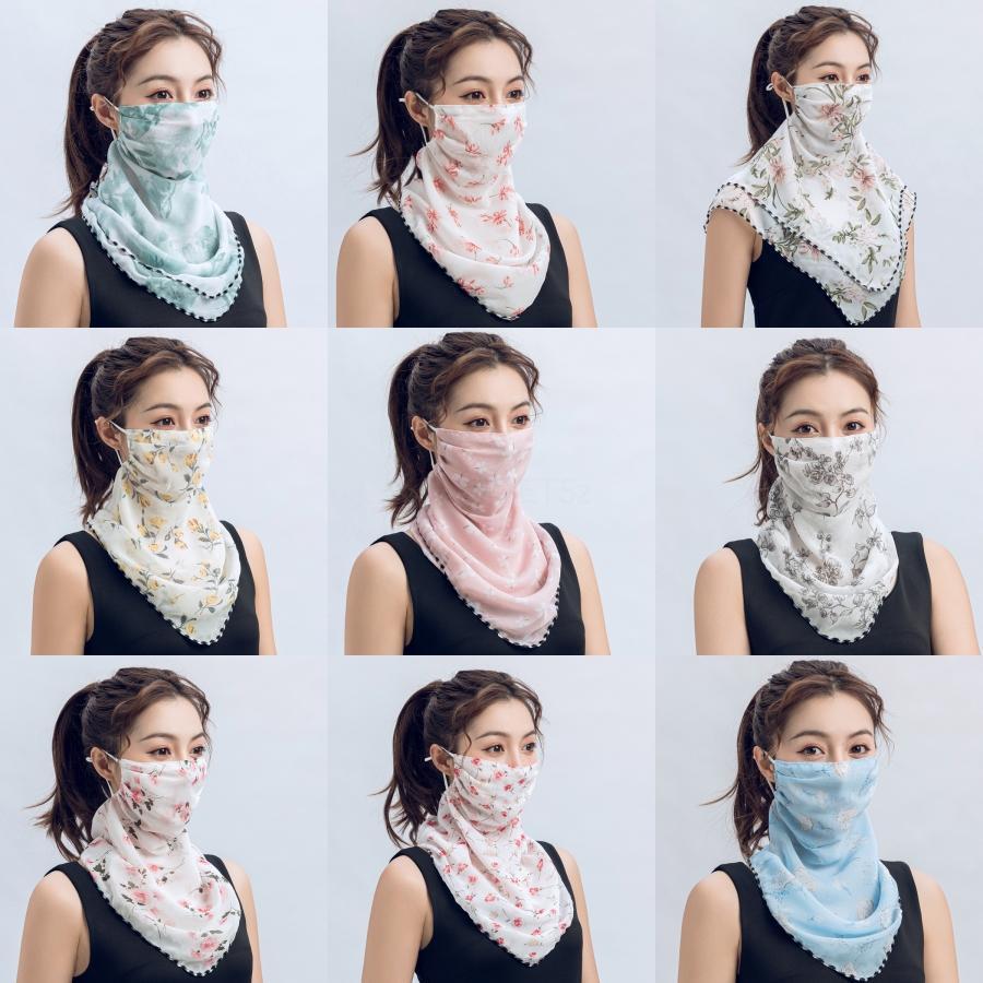1 1PCS İpek Eşarp Kadınlar Bandana Yüz Maskeleri # 847 # 989 Anti UV toz geçirmez Nefes FaceNeck tozluk Scarf87 yazdır kamuflaj