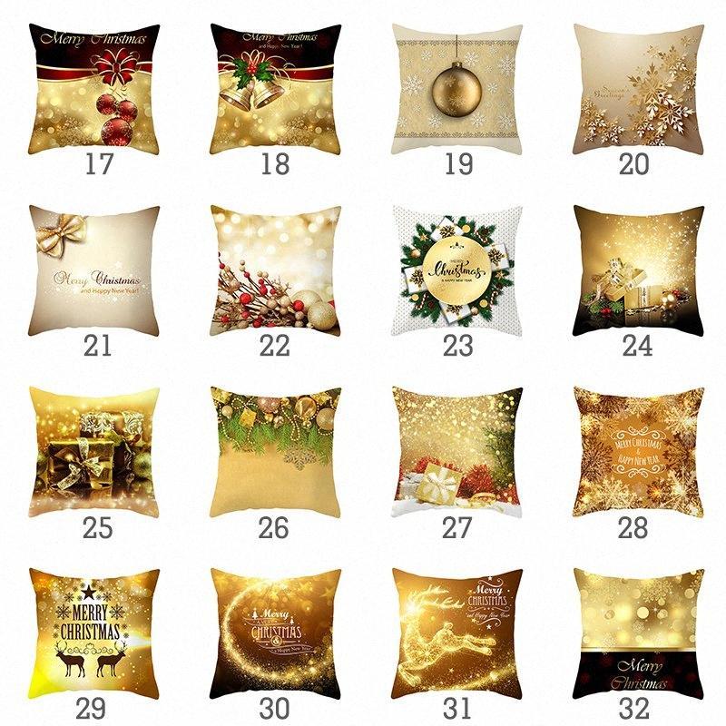 Weihnachtskissenbezug Gold Bedruckten Polyester Kissenbezug Kissenhüllen Sofa Sitz Auto Schlafzimmer Weiche Pillowcase 90oG #