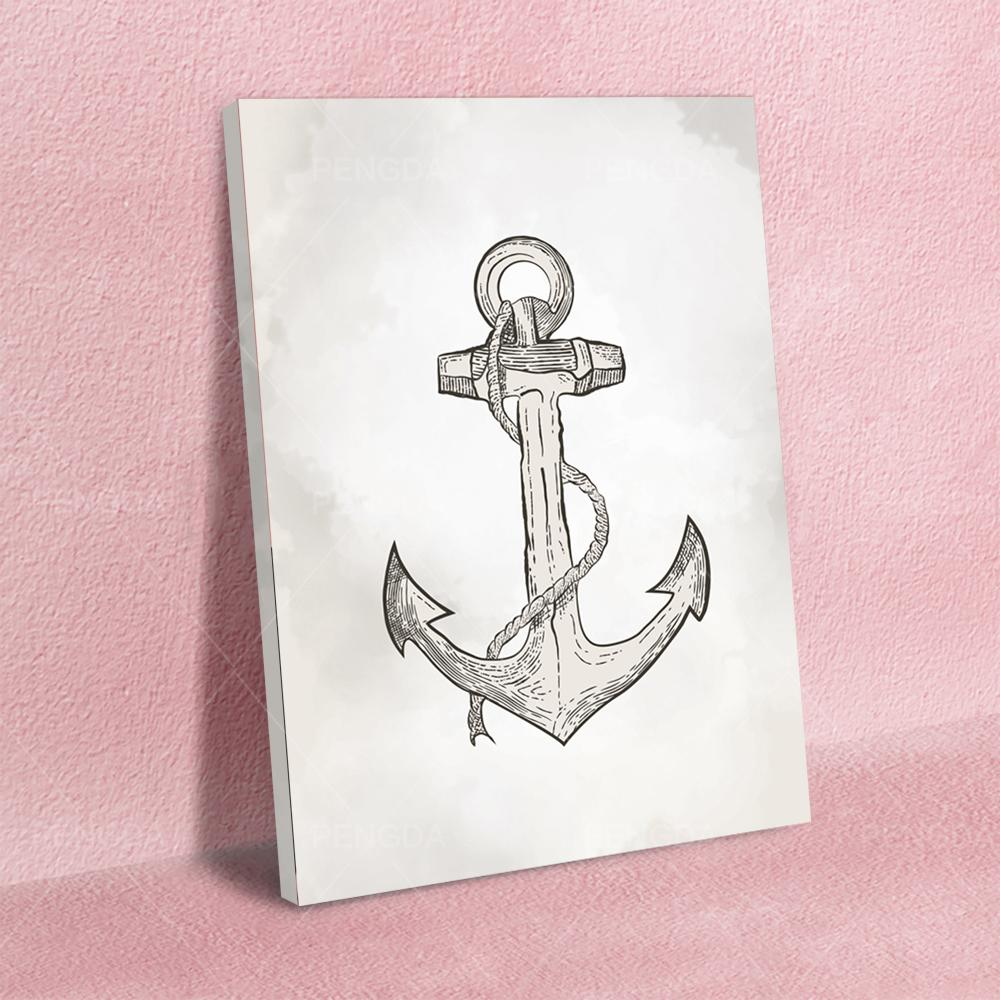 Beautiful Anchor Shape Pendant Home Decor Canvas Printed Poster Painting Modern Wall Art HD Pictures Living Room Modular Frame