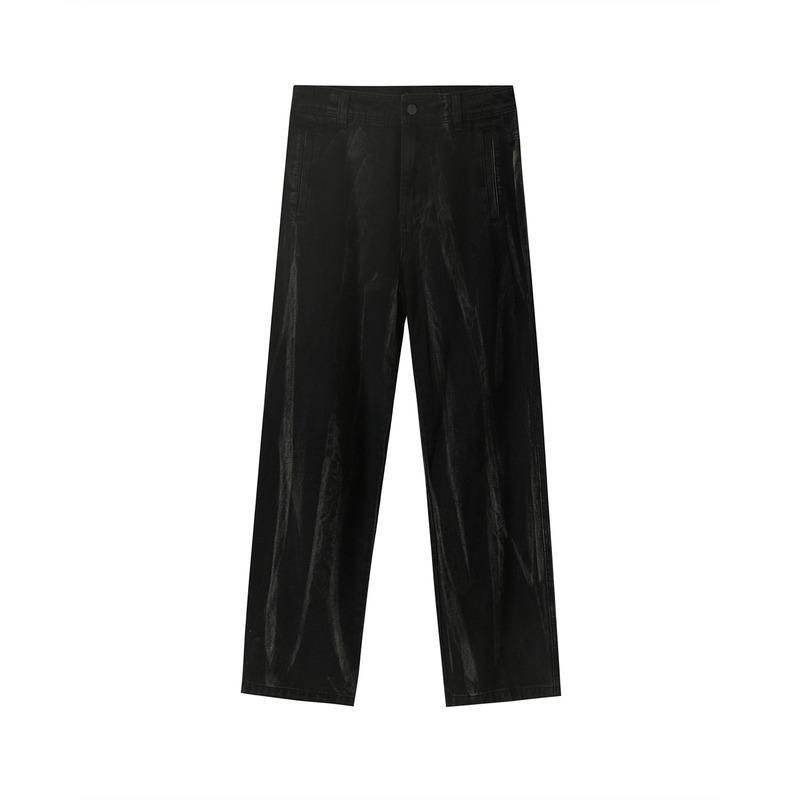 Yeni Ürünler yılında Bahar ve Yaz Eski Yıkanmış Tasarım Gradyan Tie-boya Gevşek Moda Casual Düz tüp Sığır Pantolon Erkekler olun