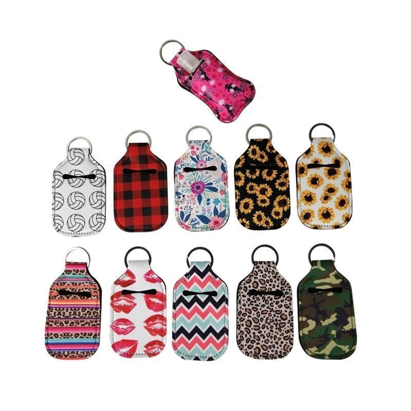Customize Neoprene Hand Sanitizer Bottle Holder Keychain Bags 30ml Hand Sanitizer Bottle Chapstick Holder With Baseball Softball Keychains