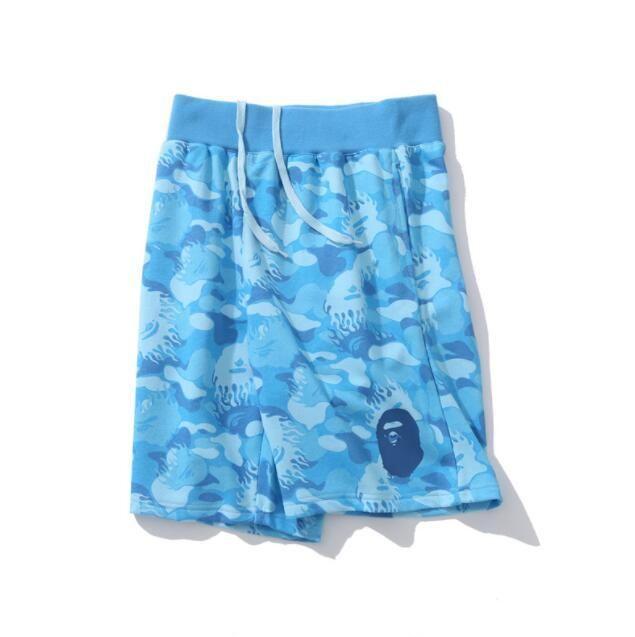 Summer Tide Brand Teenager Yellow Blue Camo Casual Pants Men's Casual Beach Shorts Sports Knee Length Pants