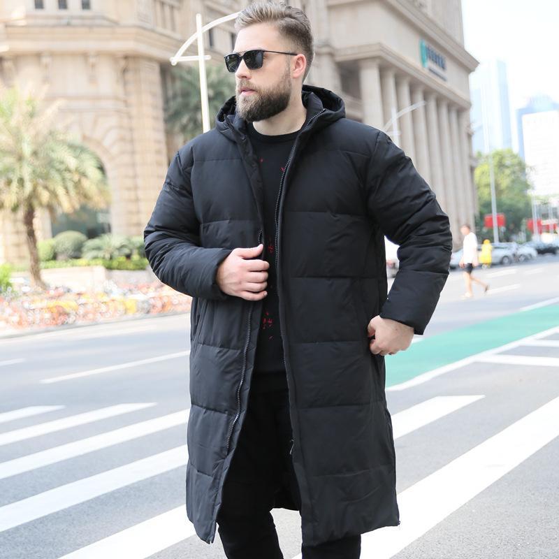 Por la chaqueta de los hombres de Corea más el tamaño de la capa del invierno de los hombres largo de pato blanca en Puffer chaqueta caliente Doudoune Homme 203WM YY1302