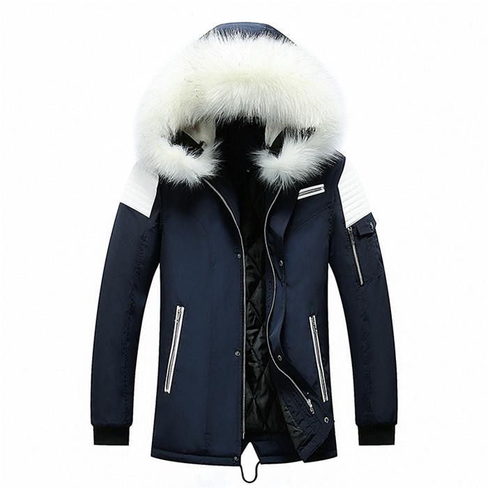 Mens verdicken Pelz-Kragen-Jacke plus Größe mit Kapuze Langarm-langer Mantel Homme Winter-dünne Warme Jacken