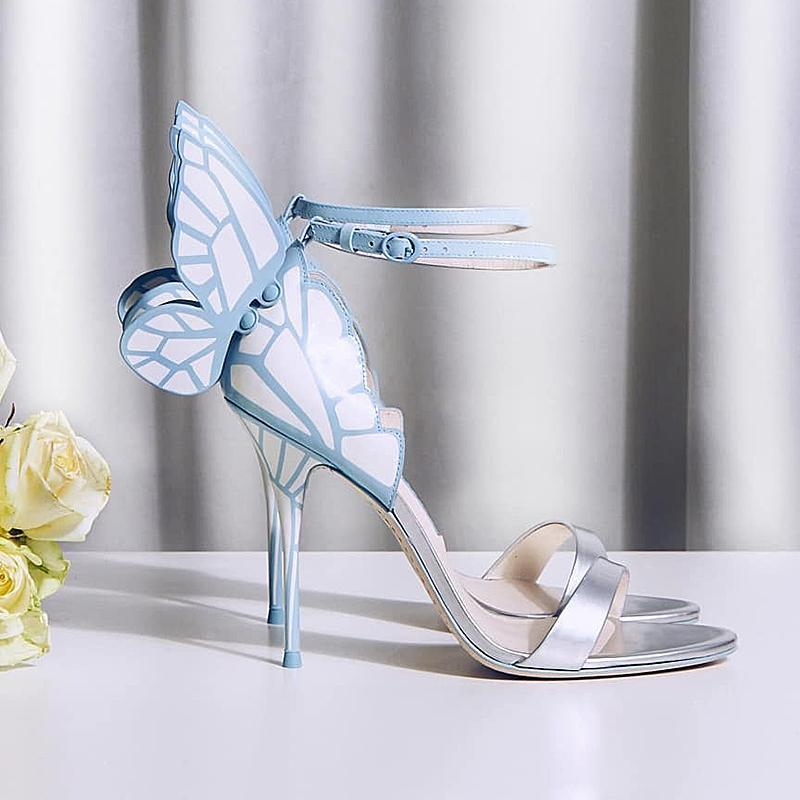 Ankle Wing Sandals for women Sophia Webster Butterfly High heels Shoes Real leather Wedding Shoes