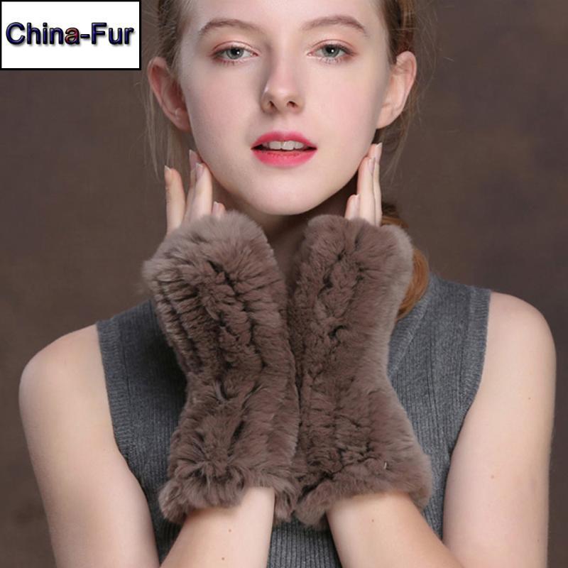 2020 Natural Fashion Rex pelliccia Guanti buone donne elastico Knit reale Fur Mittens Lady Hot Sale Rex Guanti