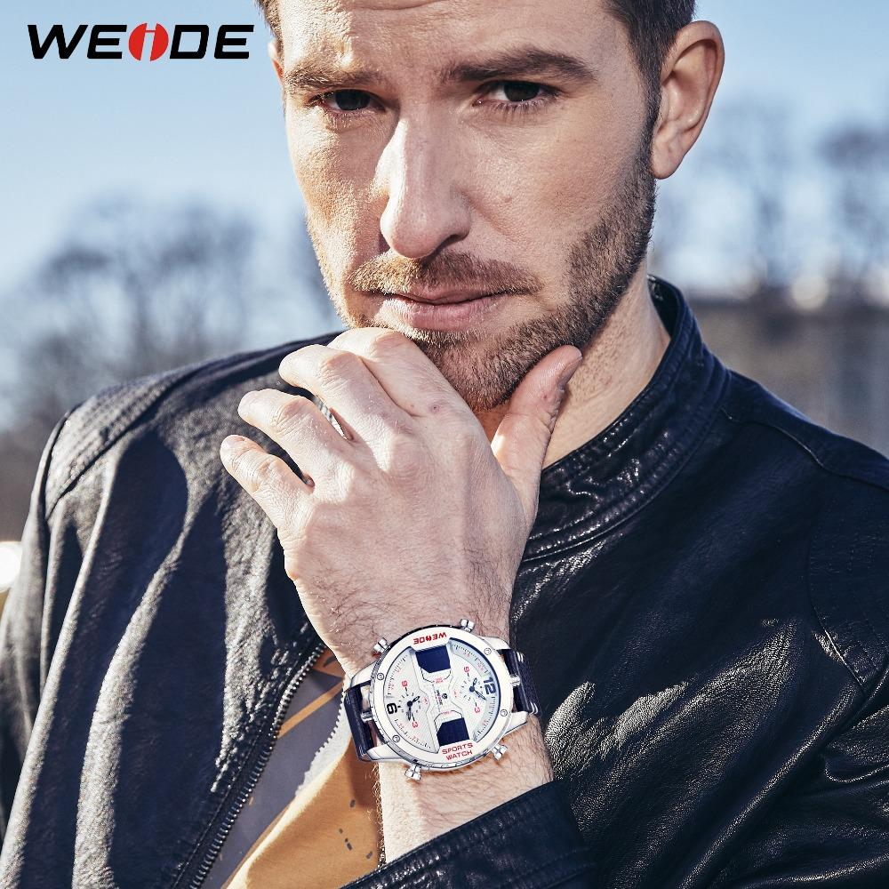 WEIDE Mode Hommes Sport Trois Time Zone Casual Quartz analogique numérique date Horloge avec bracelet en cuir militaire Montre Relogio Masculino