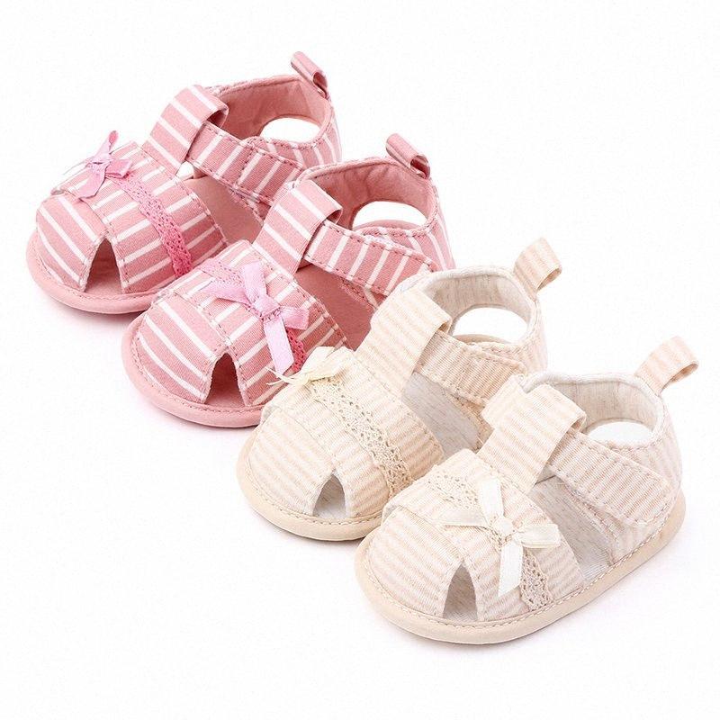 Niño sandalias del verano Newstborn infantil del bebé suave zapatos de bebés Cuna Anti Slip zapatilla de deporte de rayas arco princesa shoe1 n3oK #