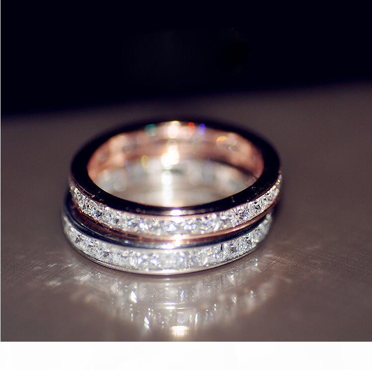 K Victoria Çarpıcı Lüks Takılar 925 Gümüş Pembe Altın Dolgu Tam Prenses kesim Beyaz Topaz Taşlı Elmas Kadınlar Düğün Gelin Ri