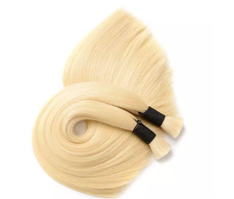 8A Braid Hair Peruvian Blonde Human Hair Bulk For Braiding Cheap Straight Hair 100g pcs 3 Bundles Bulk No Weft