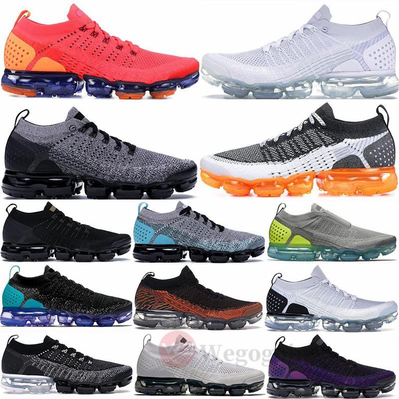 2020 Nike Air Max Vapormax Knit 2.0 Fly 3.0 Running Shoes Triple Nero Bianco Grigio fumo Palestra Red Orbit Crocodile Mens Trainers Donne Sport Sneakers
