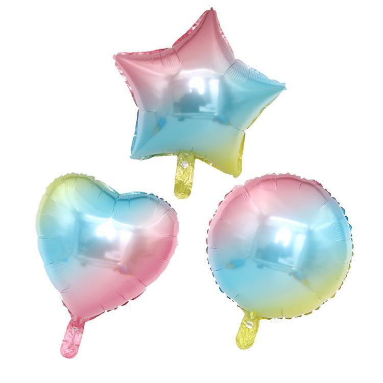 """18"""" Foil Ballon dégradé de couleur feuille ballon Rainbow Love gonfler des ballons à cinq branches de soirée de mariage Ballons Aluminium Ronde Décoration étoiles"""