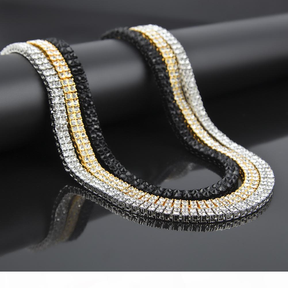 وصول جديدة مجوهرات فضة رجالي بالذهب مثلج خارج 30inch 2 صف مقلد الهيب هوب سلسلة قلادة سوار للرجال