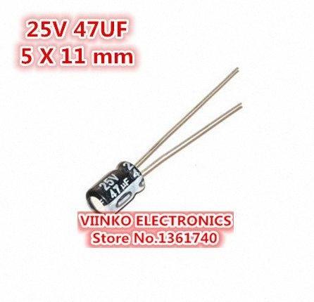 الجملة خالية من الشحن 1000PCS 47UF 25V 5X11mm كهربائيا المكثفات 25V 47UF 5 11MM * الألمنيوم كهربائيا المكثفات oH53 #