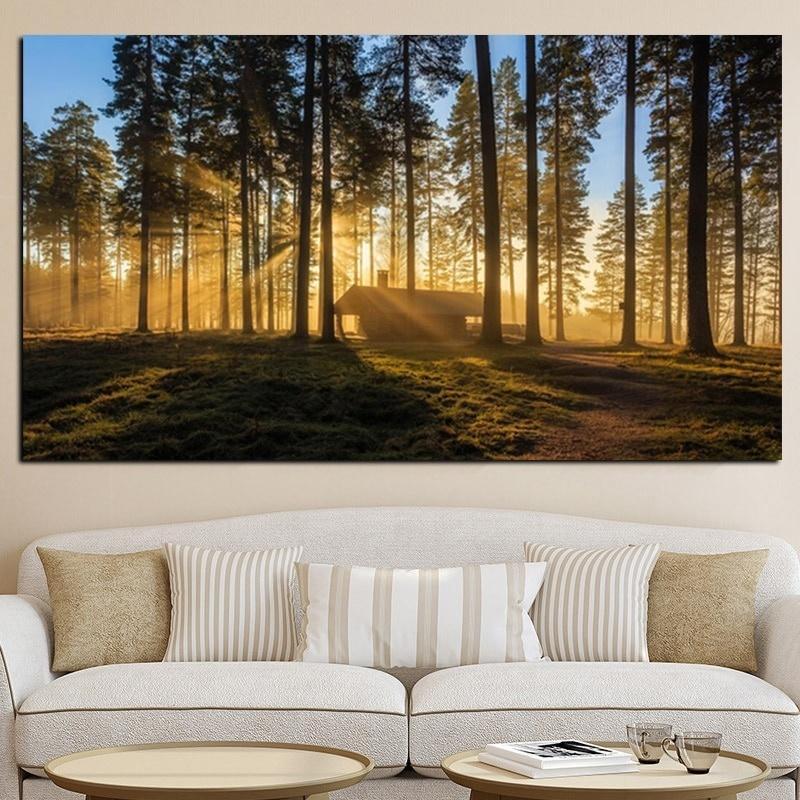 Pittura moderna Giappone Kyoto Foresta Alba paesaggio olio su tela Scandinavian Art Poster Stampe parete Immagine di Soggiorno Home Decor