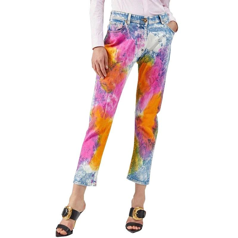 Wholesale color tie-dye printed jeans fashion hot style tight colorful small foot pants pencil pants women